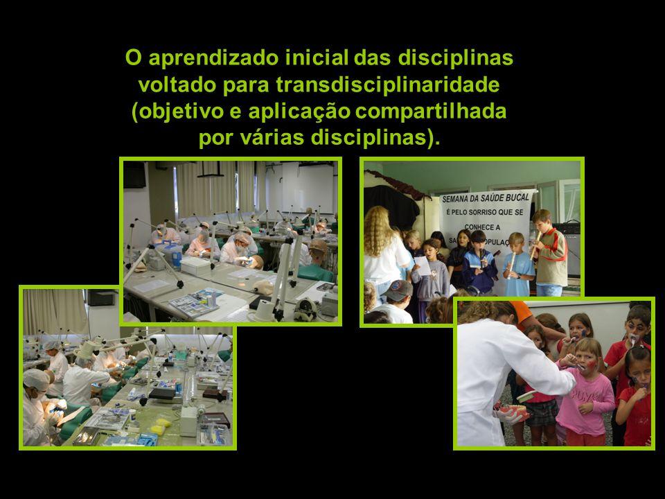 O aprendizado inicial das disciplinas voltado para transdisciplinaridade (objetivo e aplicação compartilhada por várias disciplinas).