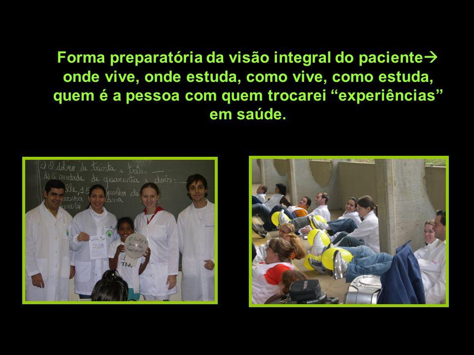 Forma preparatória da visão integral do paciente onde vive, onde estuda, como vive, como estuda, quem é a pessoa com quem trocarei experiências em saúde.