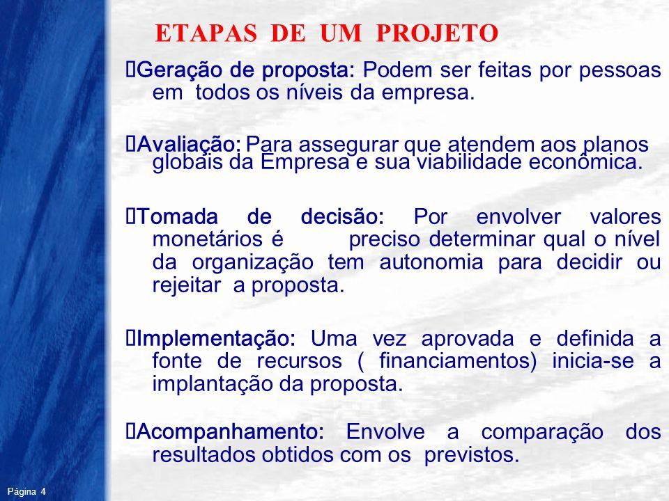 ETAPAS DE UM PROJETO ØGeração de proposta: Podem ser feitas por pessoas em todos os níveis da empresa.