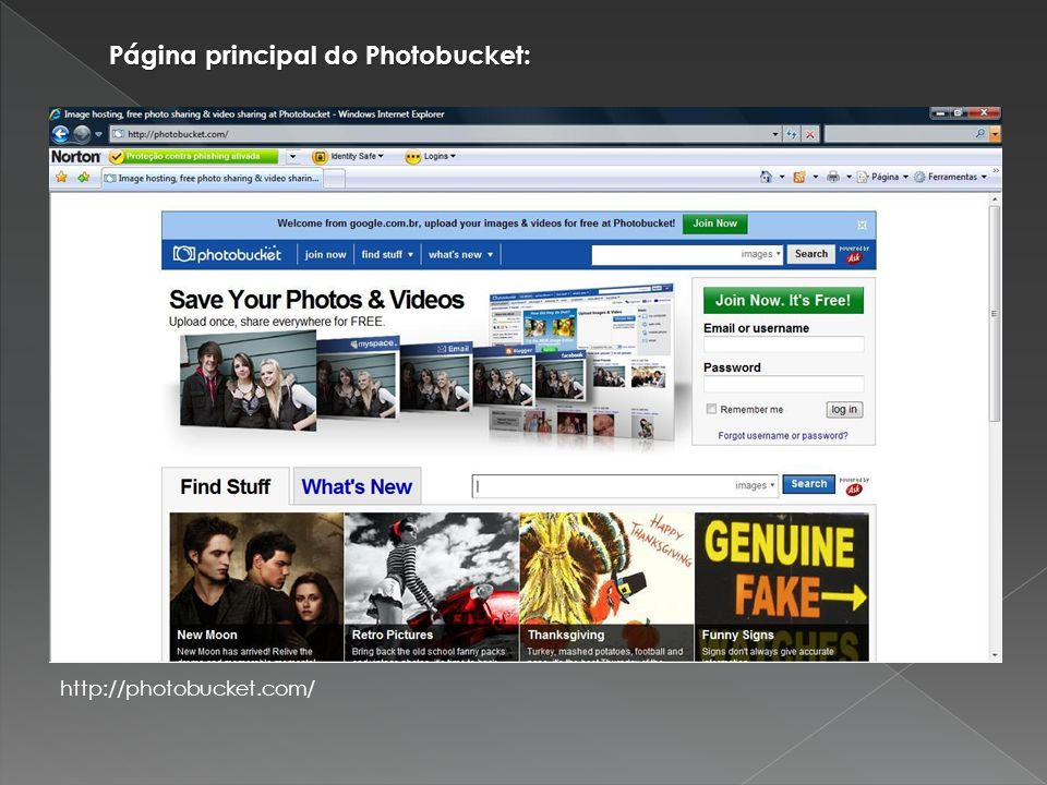 Página principal do Photobucket: