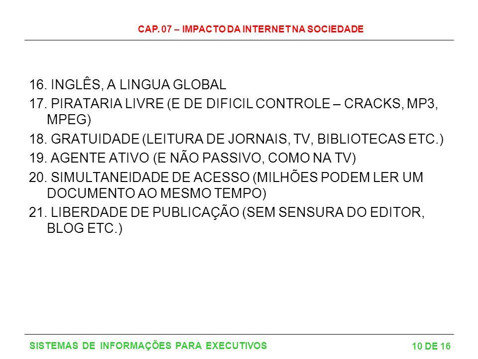 17. PIRATARIA LIVRE (E DE DIFICIL CONTROLE – CRACKS, MP3, MPEG)