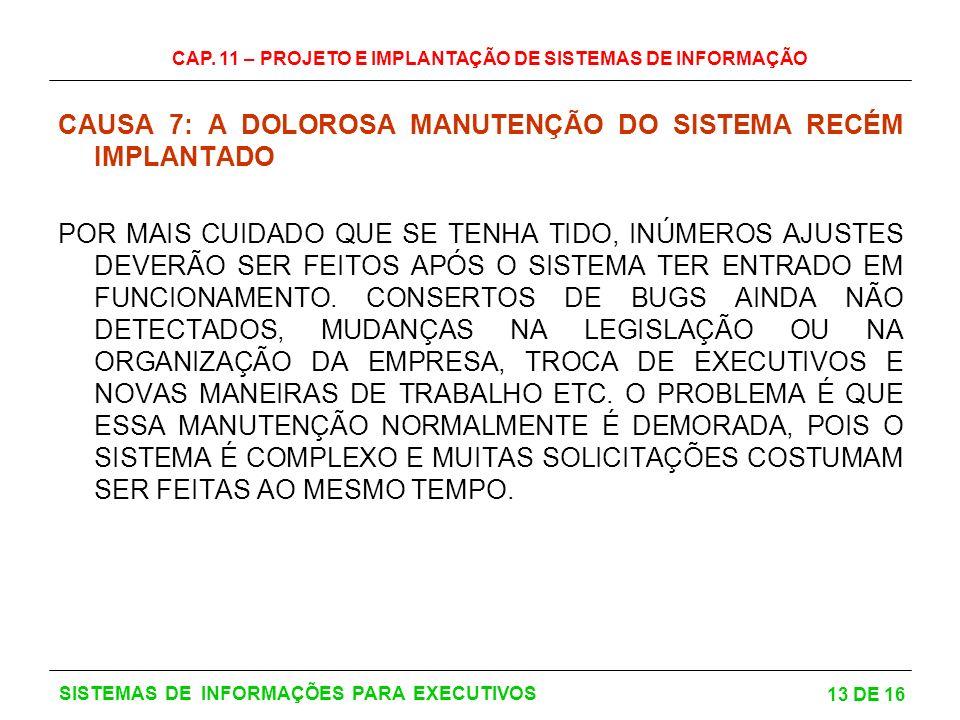 CAUSA 7: A DOLOROSA MANUTENÇÃO DO SISTEMA RECÉM IMPLANTADO
