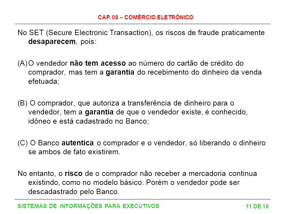 No SET (Secure Electronic Transaction), os riscos de fraude praticamente desaparecem, pois: