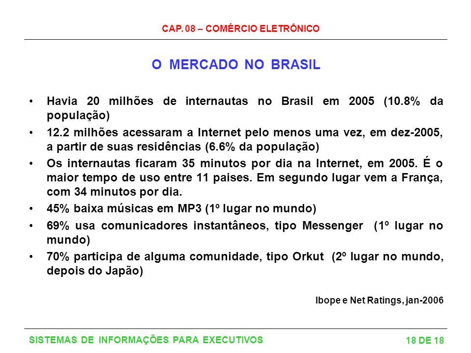 O MERCADO NO BRASIL Havia 20 milhões de internautas no Brasil em 2005 (10.8% da população)