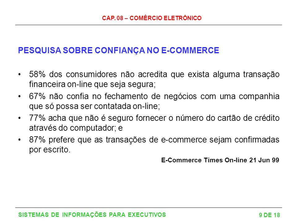 PESQUISA SOBRE CONFIANÇA NO E-COMMERCE