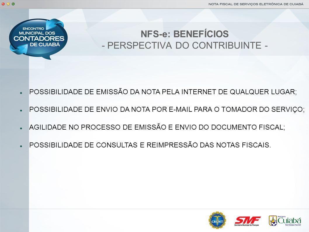 NFS-e: BENEFÍCIOS - PERSPECTIVA DO CONTRIBUINTE -