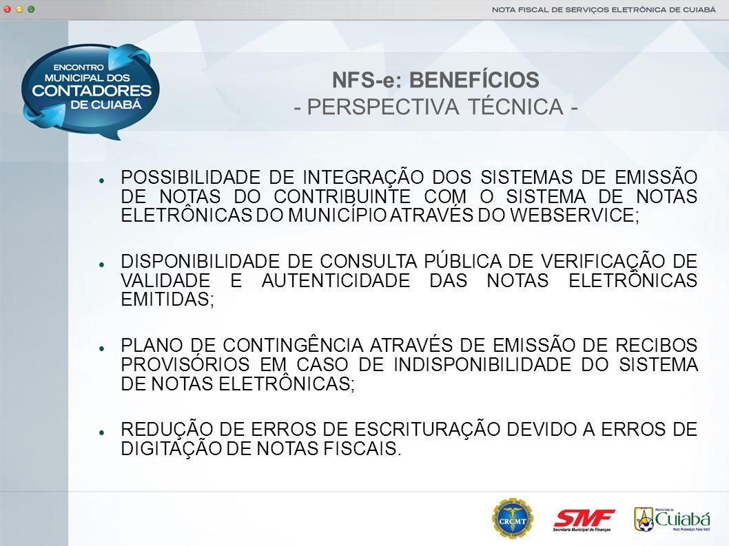 NFS-e: BENEFÍCIOS - PERSPECTIVA TÉCNICA -