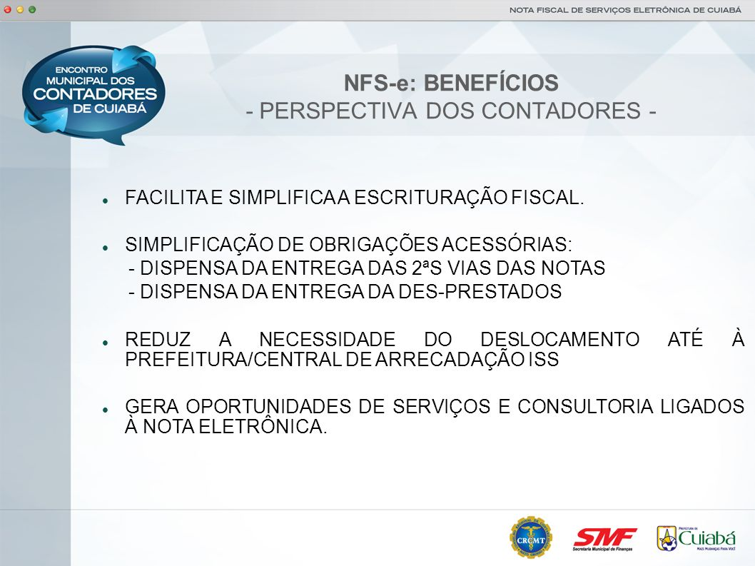 NFS-e: BENEFÍCIOS - PERSPECTIVA DOS CONTADORES -