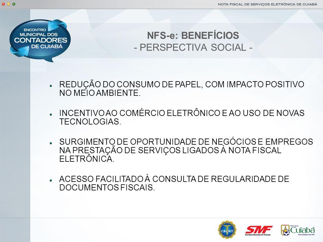 NFS-e: BENEFÍCIOS - PERSPECTIVA SOCIAL -