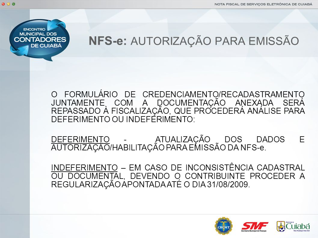 NFS-e: AUTORIZAÇÃO PARA EMISSÃO