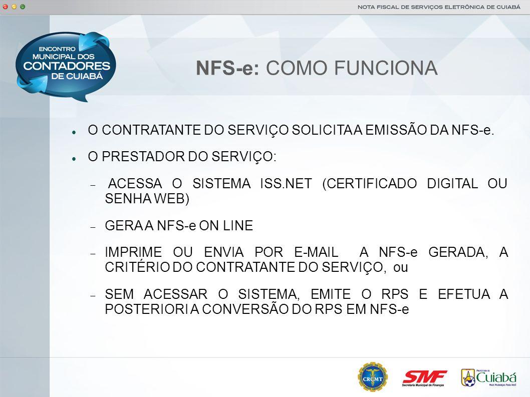 NFS-e: COMO FUNCIONAO CONTRATANTE DO SERVIÇO SOLICITA A EMISSÃO DA NFS-e. O PRESTADOR DO SERVIÇO: