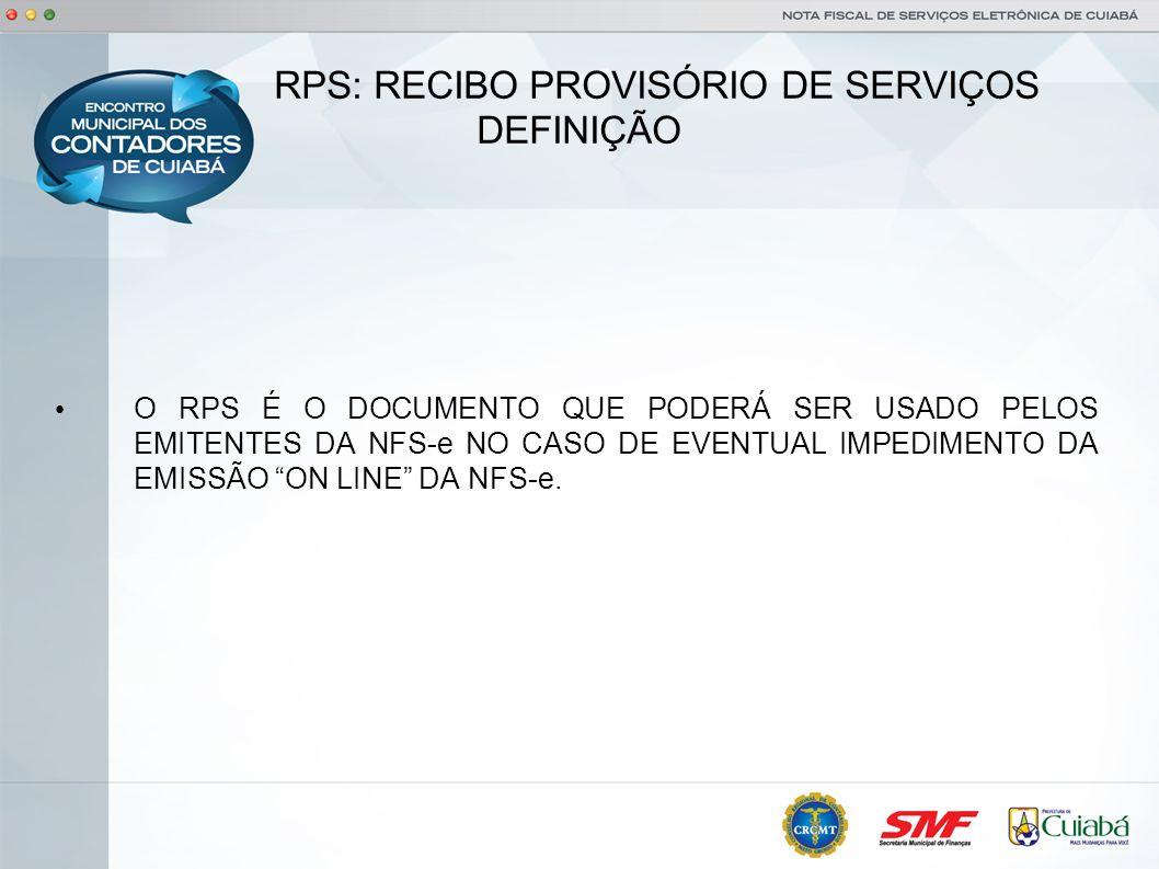 RPS: RECIBO PROVISÓRIO DE SERVIÇOS DEFINIÇÃO
