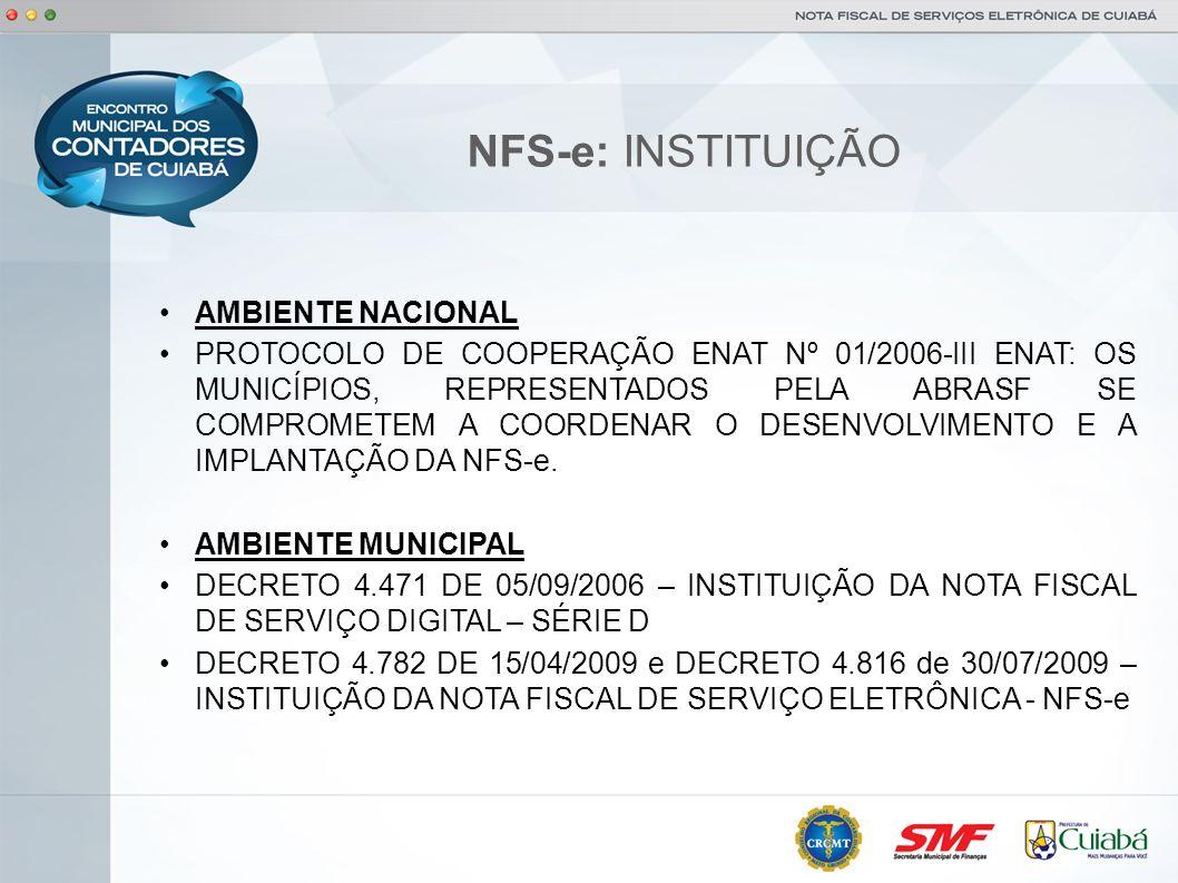 NFS-e: INSTITUIÇÃO AMBIENTE NACIONAL