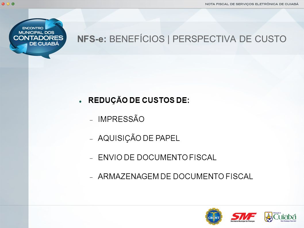NFS-e: BENEFÍCIOS | PERSPECTIVA DE CUSTO