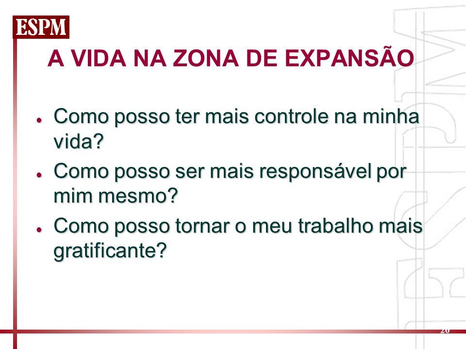 A VIDA NA ZONA DE EXPANSÃO