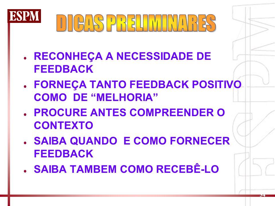 DICAS PRELIMINARES RECONHEÇA A NECESSIDADE DE FEEDBACK