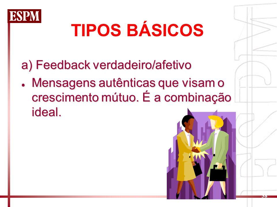 TIPOS BÁSICOS a) Feedback verdadeiro/afetivo