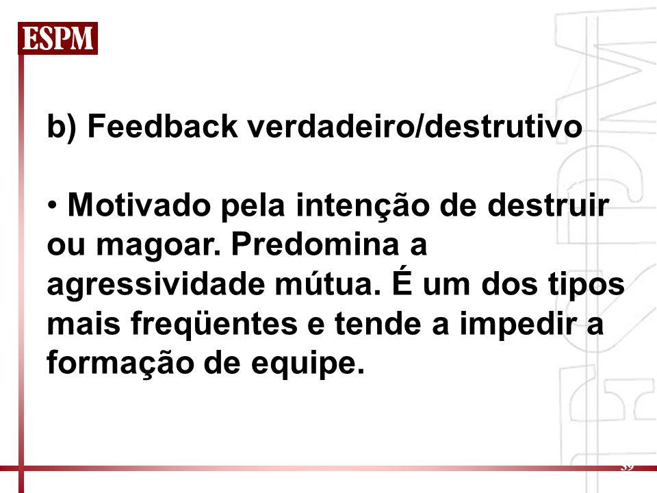b) Feedback verdadeiro/destrutivo