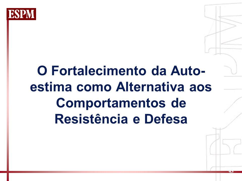 O Fortalecimento da Auto-estima como Alternativa aos Comportamentos de Resistência e Defesa