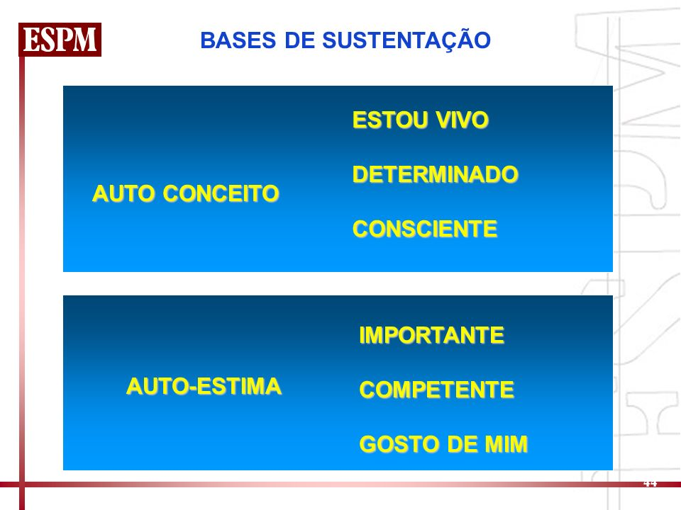 BASES DE SUSTENTAÇÃO AUTO CONCEITO. ESTOU VIVO. DETERMINADO. CONSCIENTE. AUTO-ESTIMA. IMPORTANTE.