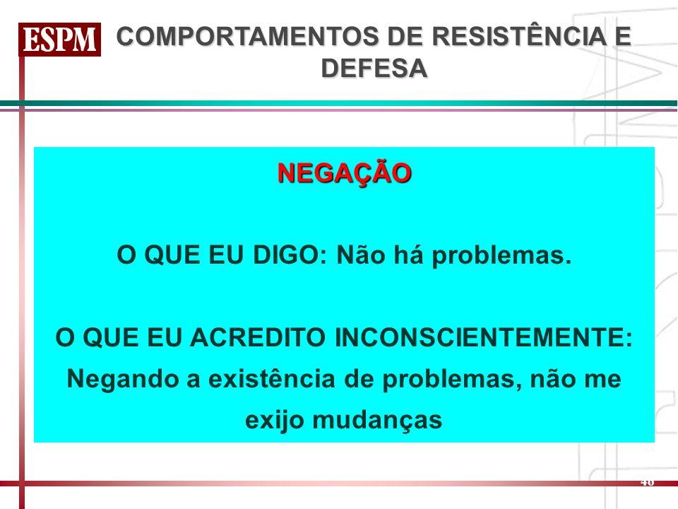 COMPORTAMENTOS DE RESISTÊNCIA E DEFESA