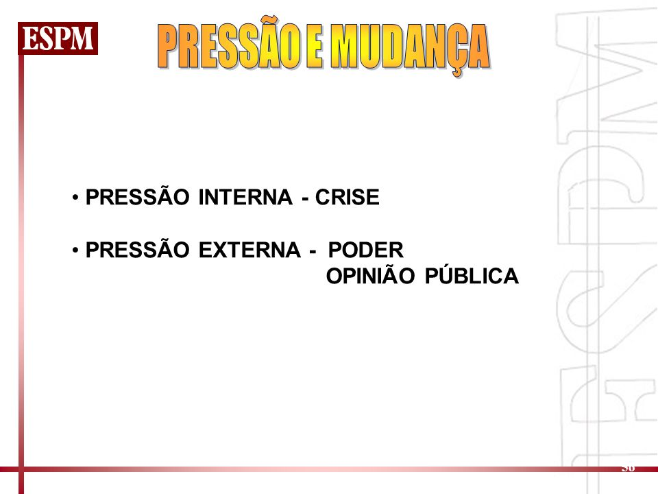 PRESSÃO E MUDANÇA PRESSÃO INTERNA - CRISE PRESSÃO EXTERNA - PODER