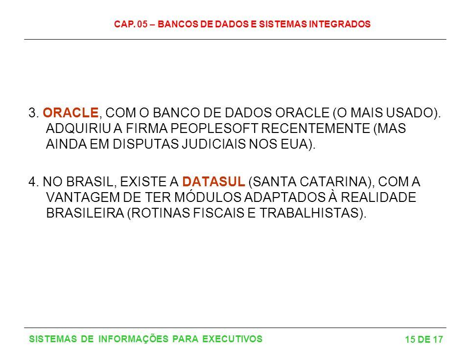 3. ORACLE, COM O BANCO DE DADOS ORACLE (O MAIS USADO)