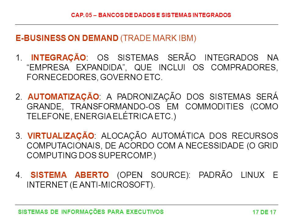 E-BUSINESS ON DEMAND (TRADE MARK IBM)