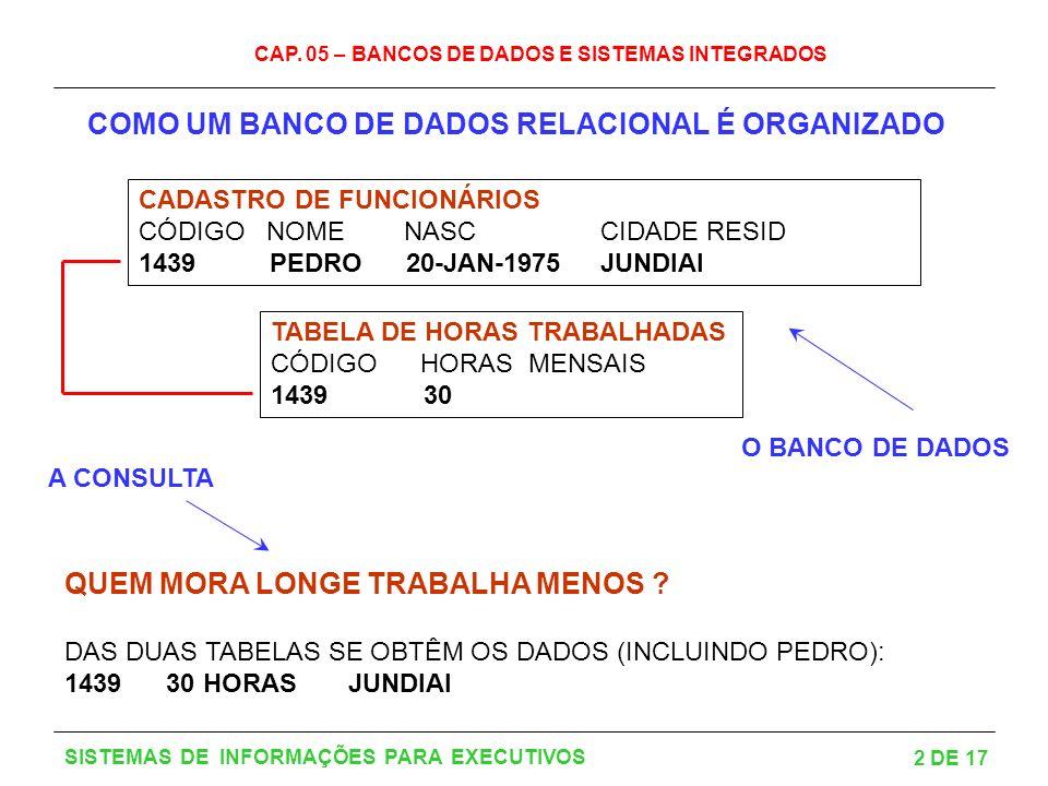 COMO UM BANCO DE DADOS RELACIONAL É ORGANIZADO