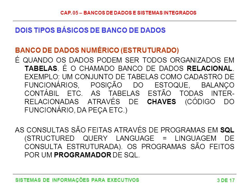 DOIS TIPOS BÁSICOS DE BANCO DE DADOS