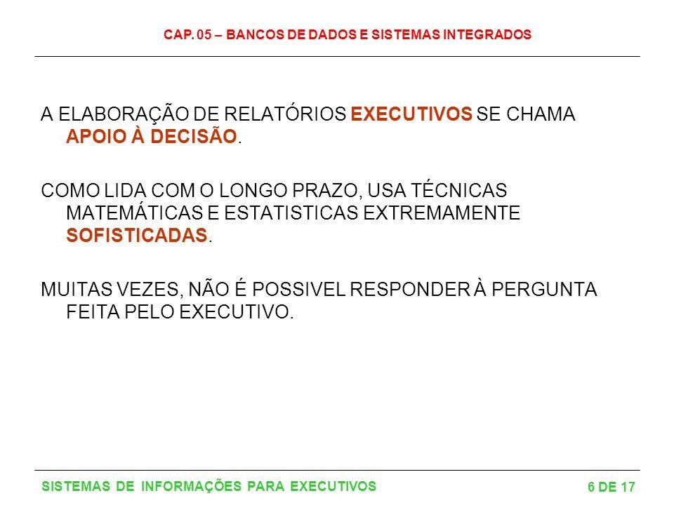 A ELABORAÇÃO DE RELATÓRIOS EXECUTIVOS SE CHAMA APOIO À DECISÃO.