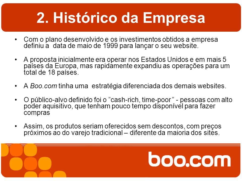 2. Histórico da Empresa Com o plano desenvolvido e os investimentos obtidos a empresa definiu a data de maio de 1999 para lançar o seu website.