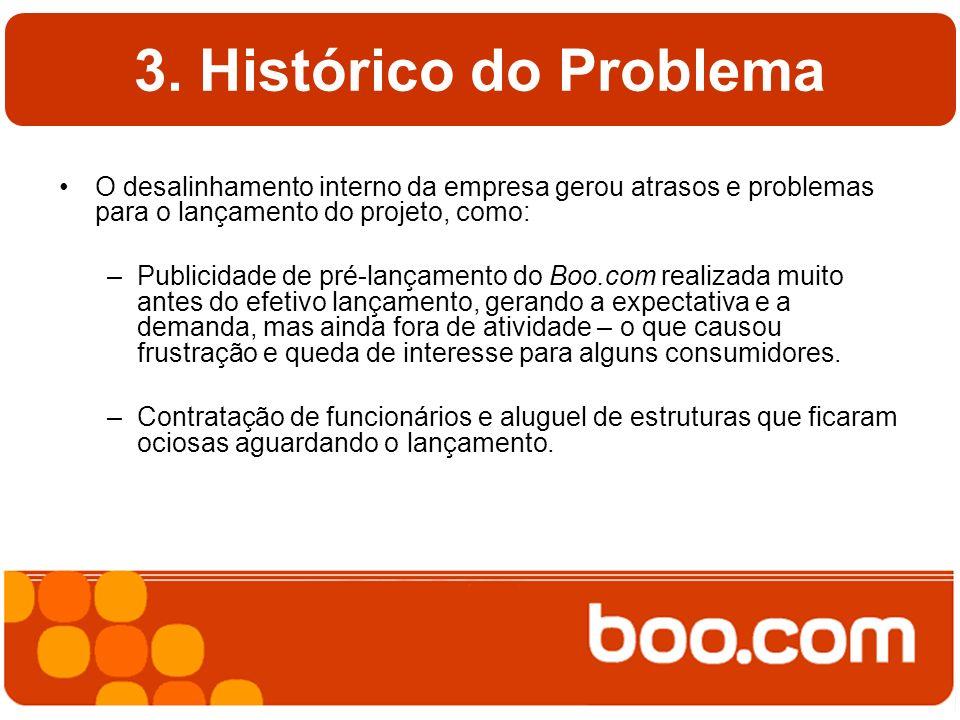 3. Histórico do Problema O desalinhamento interno da empresa gerou atrasos e problemas para o lançamento do projeto, como: