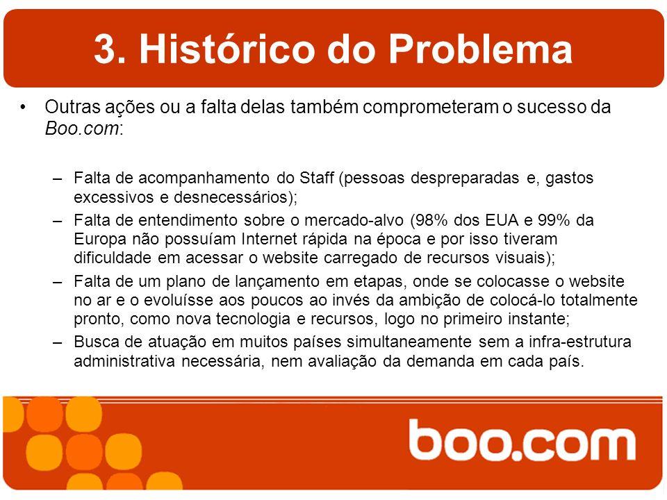 3. Histórico do Problema Outras ações ou a falta delas também comprometeram o sucesso da Boo.com: