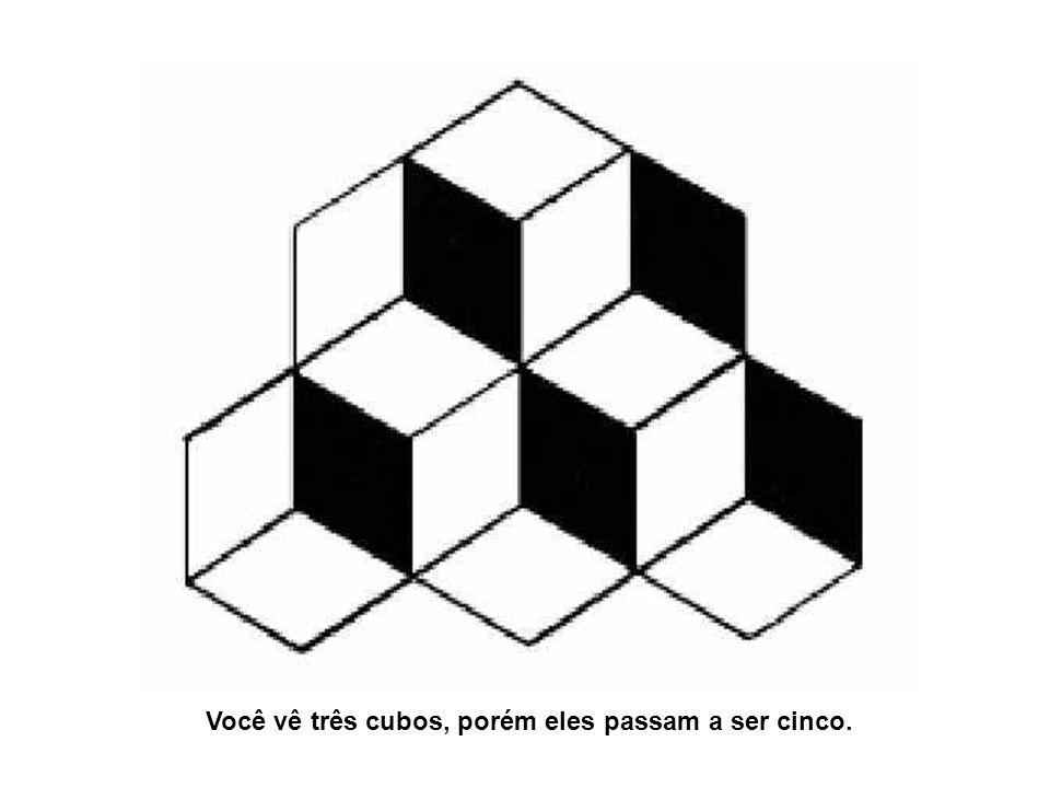 Você vê três cubos, porém eles passam a ser cinco.