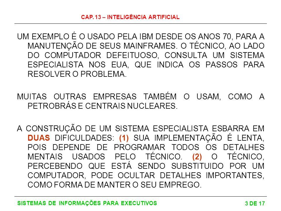 UM EXEMPLO É O USADO PELA IBM DESDE OS ANOS 70, PARA A MANUTENÇÃO DE SEUS MAINFRAMES. O TÉCNICO, AO LADO DO COMPUTADOR DEFEITUOSO, CONSULTA UM SISTEMA ESPECIALISTA NOS EUA, QUE INDICA OS PASSOS PARA RESOLVER O PROBLEMA.