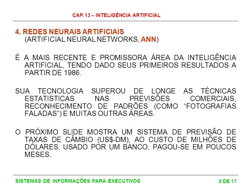 4. REDES NEURAIS ARTIFICIAIS (ARTIFICIAL NEURAL NETWORKS, ANN)