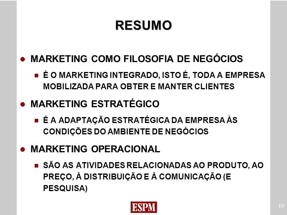RESUMO MARKETING COMO FILOSOFIA DE NEGÓCIOS MARKETING ESTRATÉGICO