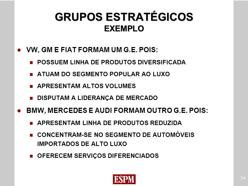 GRUPOS ESTRATÉGICOS EXEMPLO