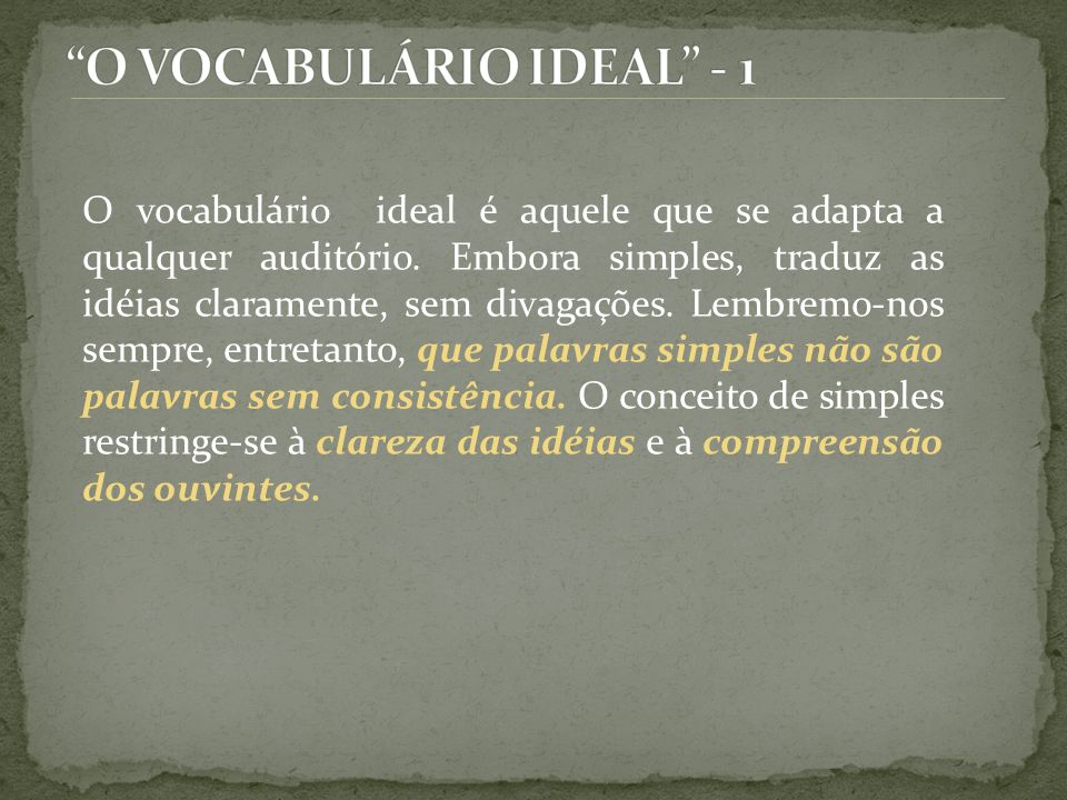 O VOCABULÁRIO IDEAL - 1
