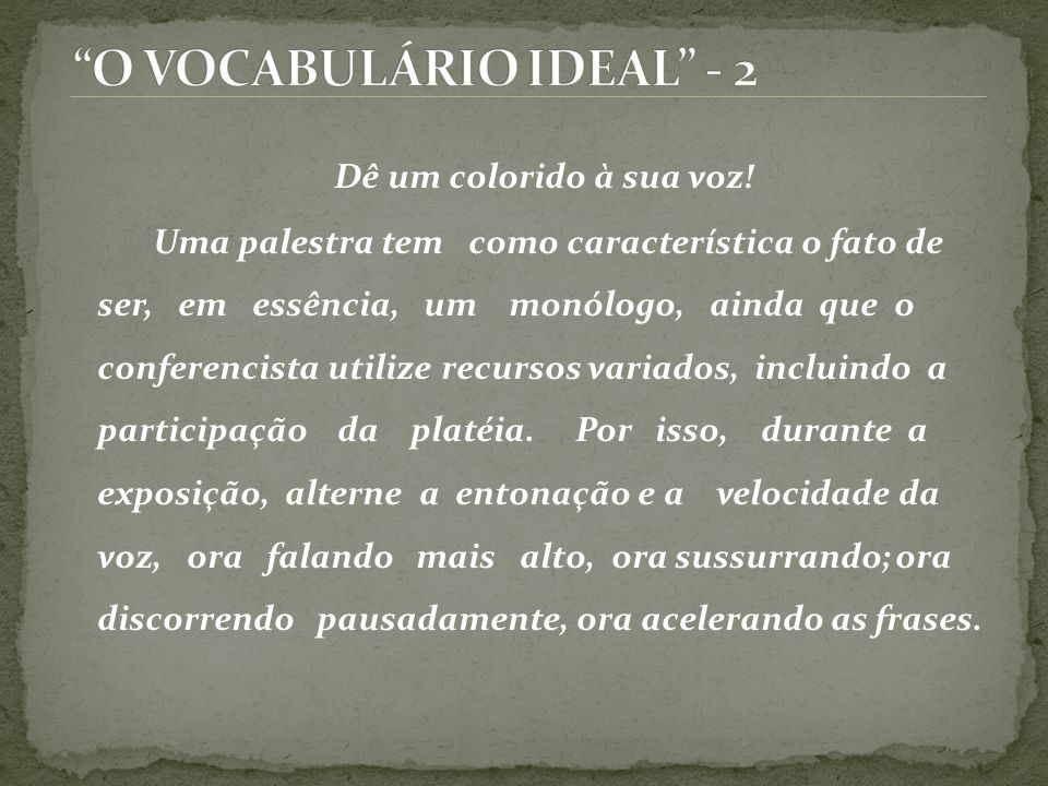 O VOCABULÁRIO IDEAL - 2