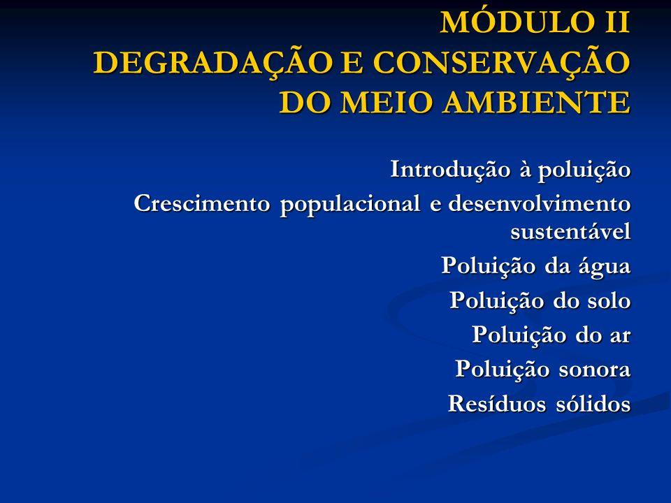 MÓDULO II DEGRADAÇÃO E CONSERVAÇÃO DO MEIO AMBIENTE