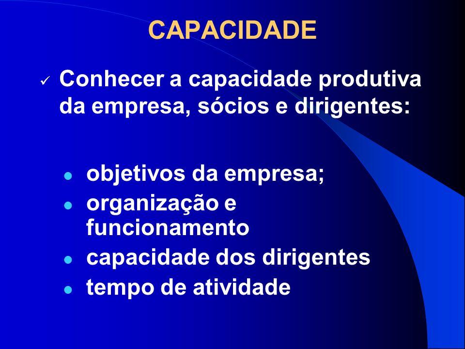 CAPACIDADE Conhecer a capacidade produtiva da empresa, sócios e dirigentes: objetivos da empresa; organização e funcionamento.