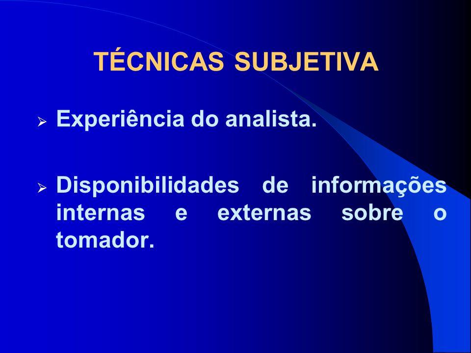 TÉCNICAS SUBJETIVA Experiência do analista.