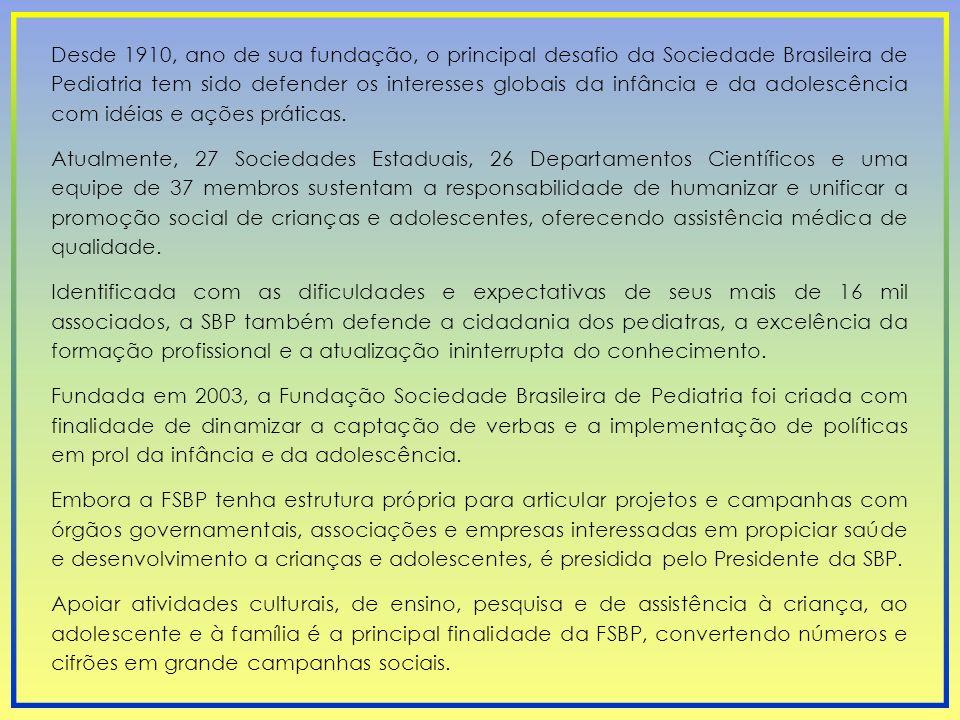 Desde 1910, ano de sua fundação, o principal desafio da Sociedade Brasileira de Pediatria tem sido defender os interesses globais da infância e da adolescência com idéias e ações práticas.