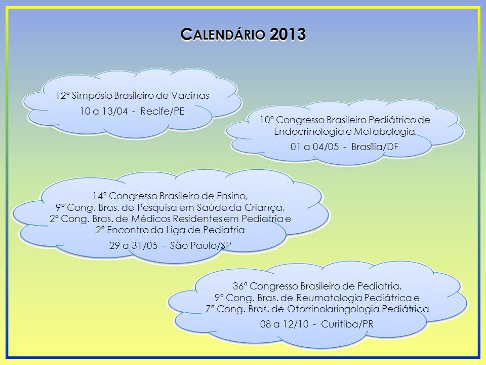 Calendário 2013 12º Simpósio Brasileiro de Vacinas