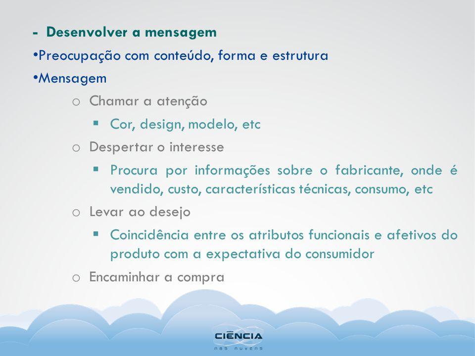 - Desenvolver a mensagem