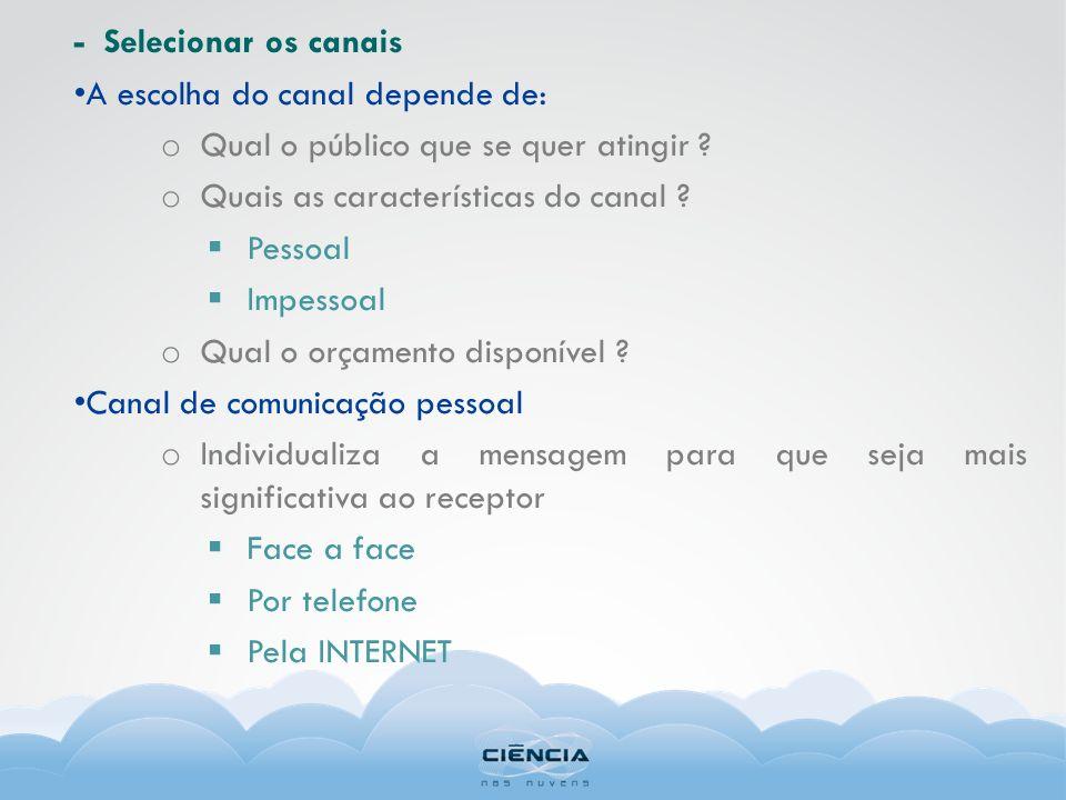 - Selecionar os canais A escolha do canal depende de: Qual o público que se quer atingir Quais as características do canal