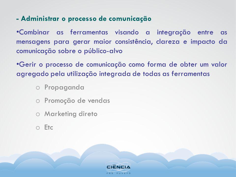 - Administrar o processo de comunicação