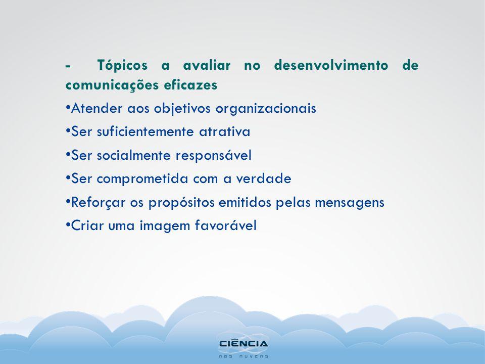 - Tópicos a avaliar no desenvolvimento de comunicações eficazes